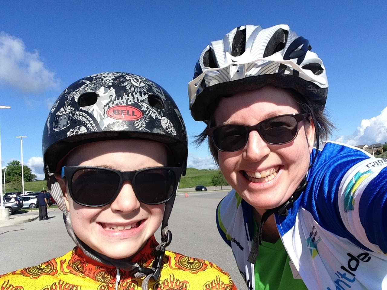 Judy and son riding for mental health
